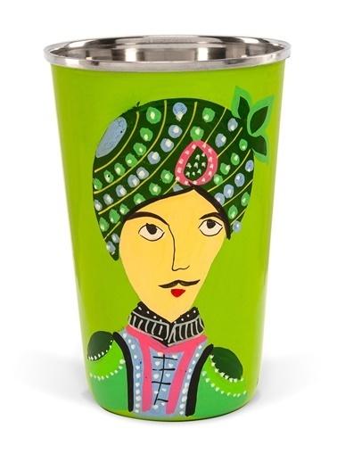 Portreli Yeşil Emaye Bardak-3rd Culture
